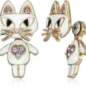 "BETSEY JOHNSON 2PC ""MINI CRITTER"" CAT EARRINGS"